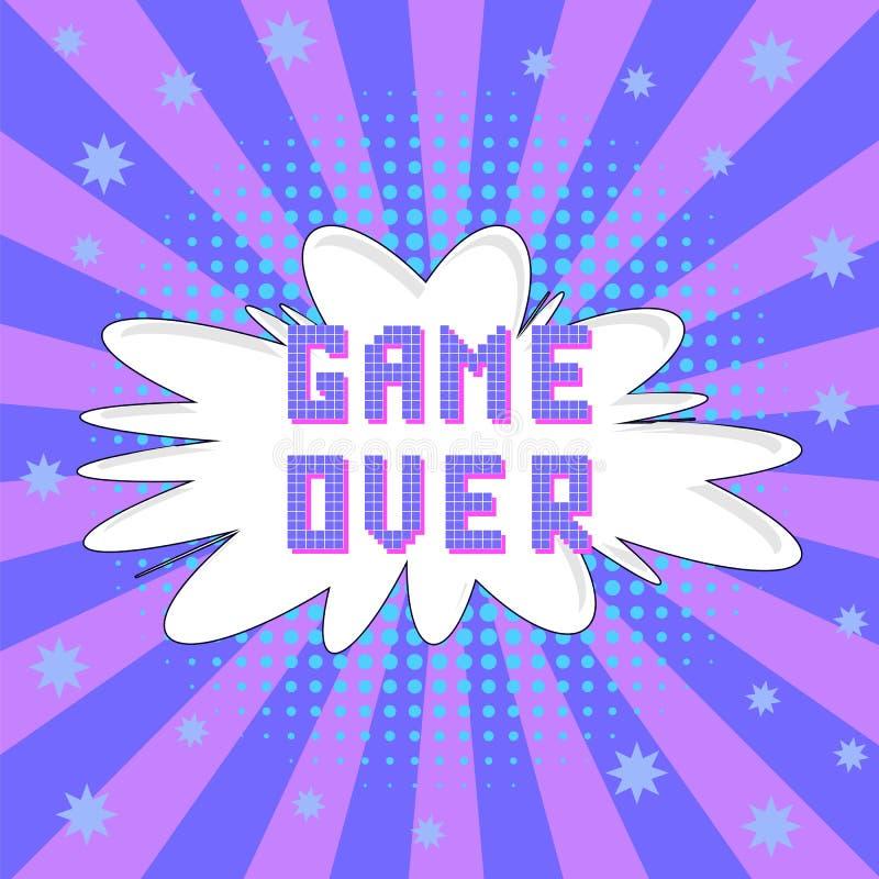 Retro Pixelspel over Teken Gokkenconcept Het videospelletjescherm royalty-vrije illustratie