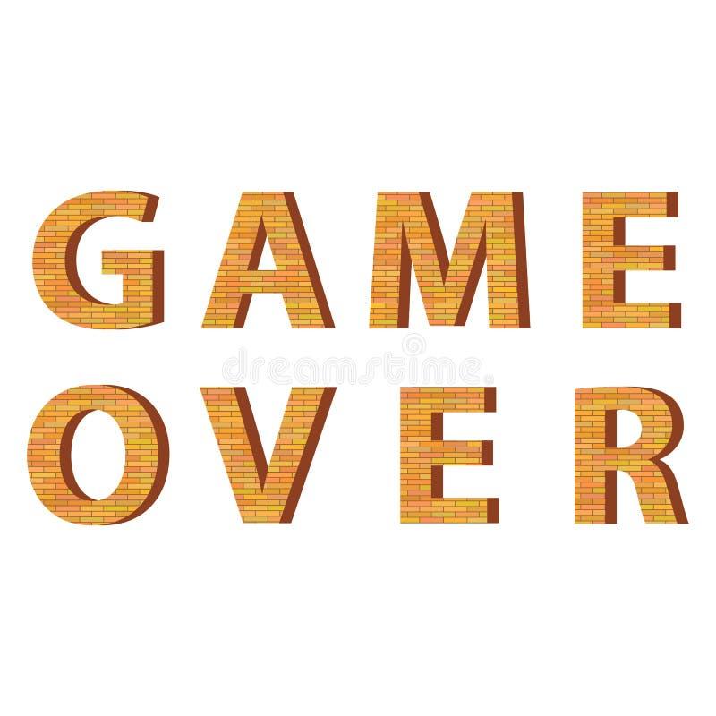 Retro Pixelspel over Teken Gokkenconcept Het videospelletjescherm vector illustratie