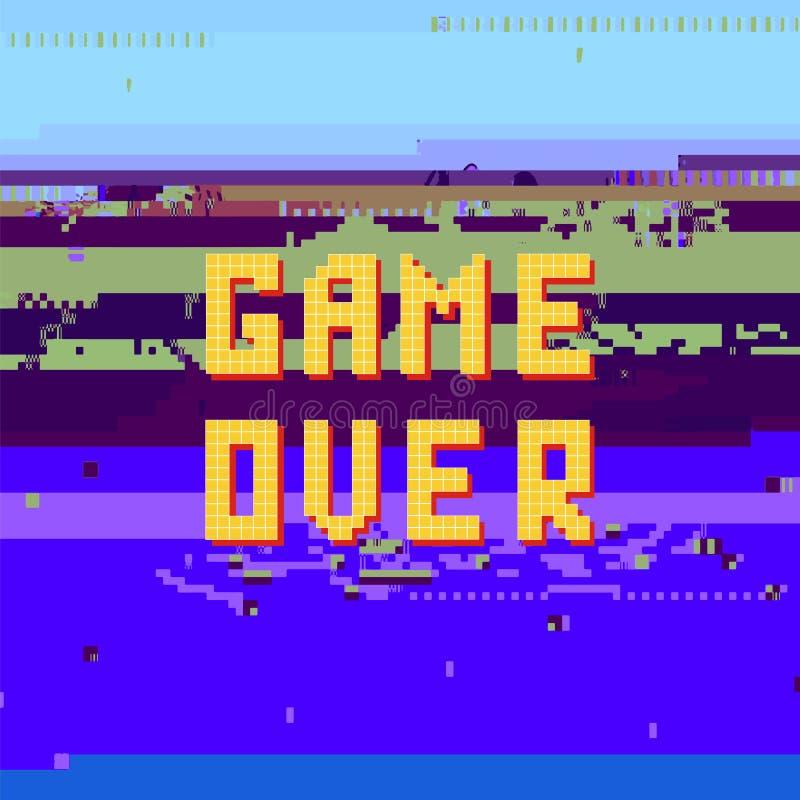 Retro Pixelspel over Zonde op Glitch Banner Gokkenconcept Het videospelletjescherm vector illustratie