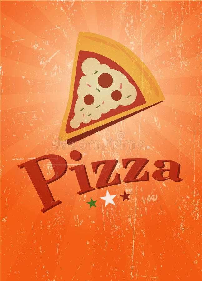 Retro pizza affiche stock illustration