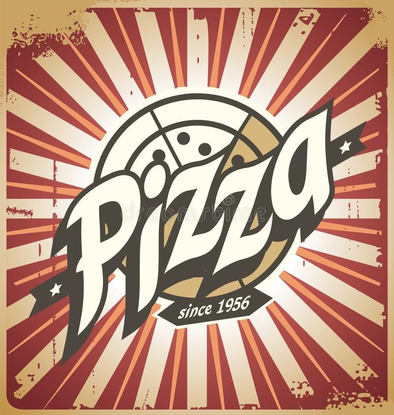 Retro pizza sign, poster, template or pizza box design vector illustration