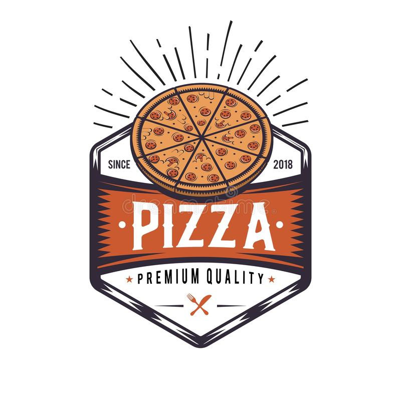 Retro pizzeria loga projekt Rocznik pizzy emblemat Modniś odznaki styl royalty ilustracja
