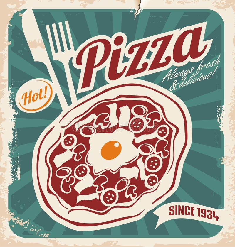 Download Retro Pizzeria Poster Stock Vector Illustration Of Mozzarella