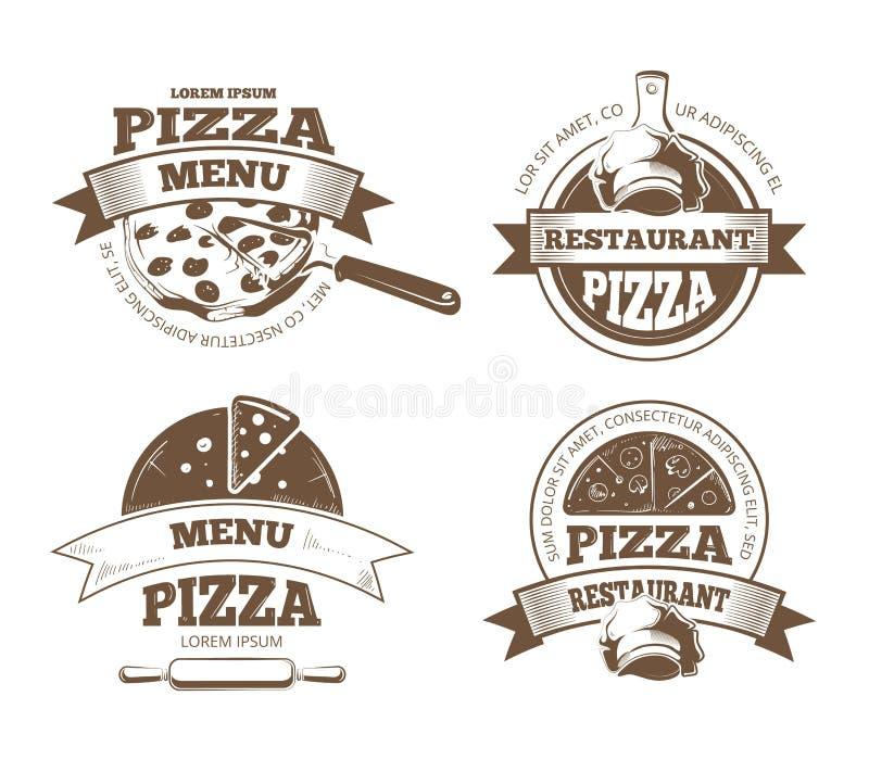 Retro pizzeria wektorowe etykietki, logowie, odznaki, emblematy z pizz ikonami ilustracja wektor