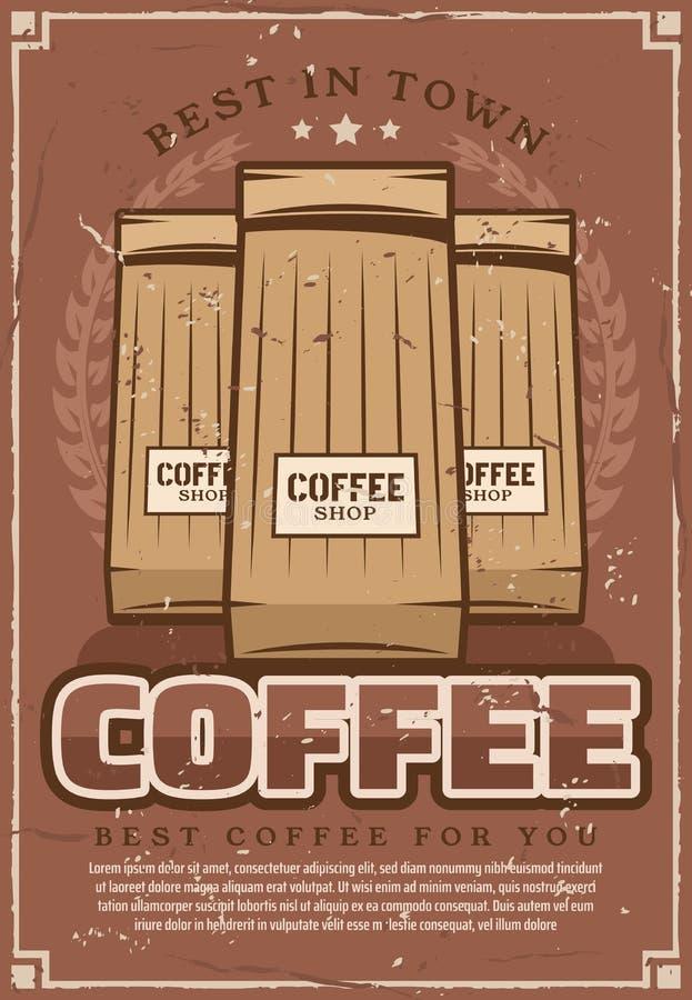 Retro- Plakat Coffeeshop mit Sätzen des gemahlenen Kaffees stock abbildung