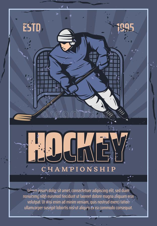Retro- Plakat der Hockey-Team-Spieler-Meisterschaft vektor abbildung