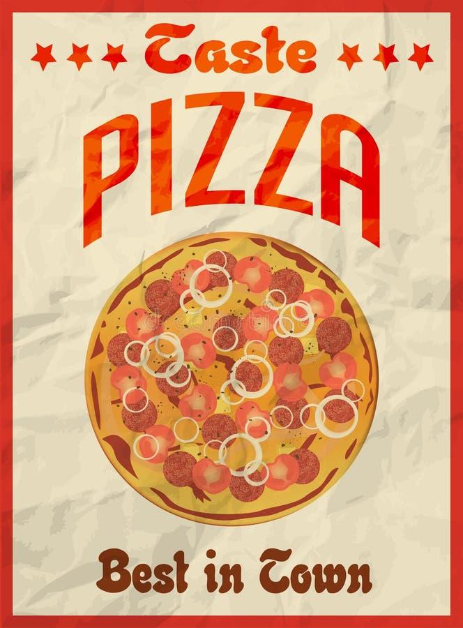 Retro- Plakat der Pizzaweinlese auf zerknittertem Papier für Restaurant stock abbildung