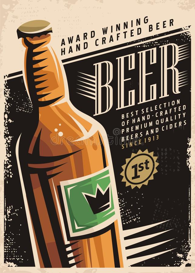 Retro- Plakat des Bieres lizenzfreie abbildung