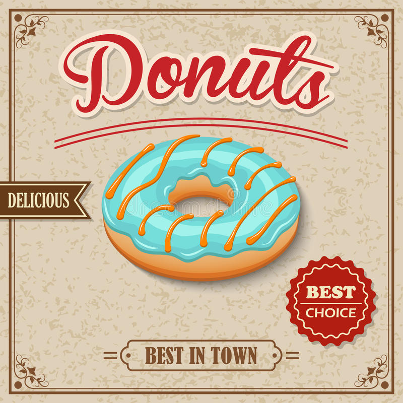 Retro- Plakat des Donuts stock abbildung