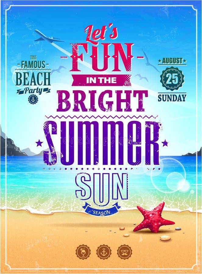 Retro- Plakat des Sommers stock abbildung