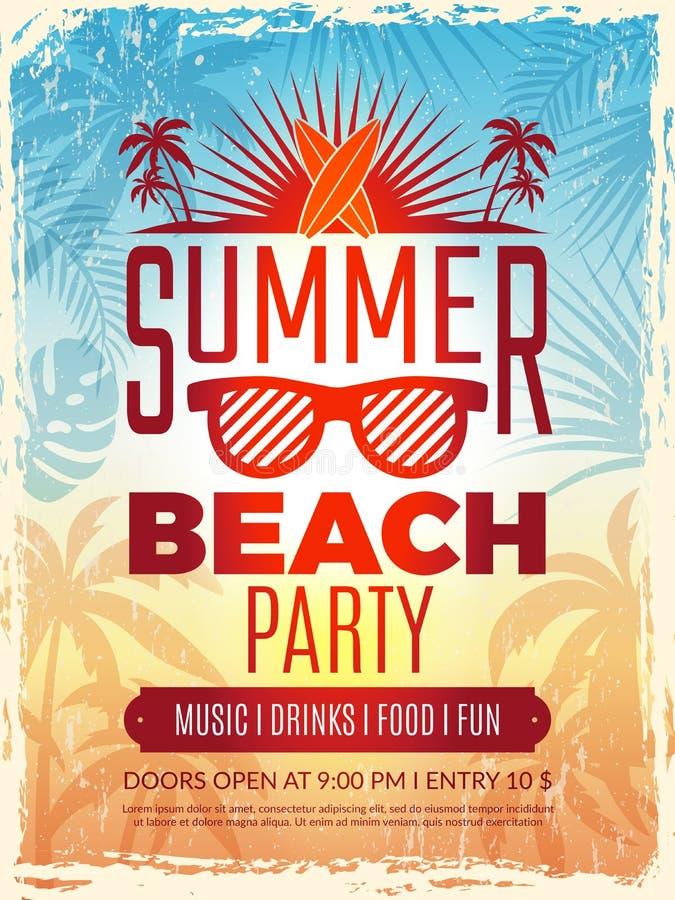 Retro- Plakat des Sommers Strandsommerfesteinladung der Ferien Plakat-Vektorschablone der tropischen Retro- stock abbildung