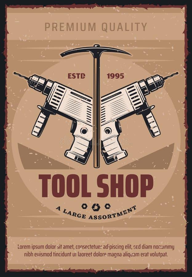 Retro- Plakat des Vektors für Werkzeugshop stock abbildung