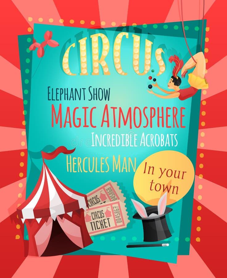Retro- Plakat des Zirkusses vektor abbildung