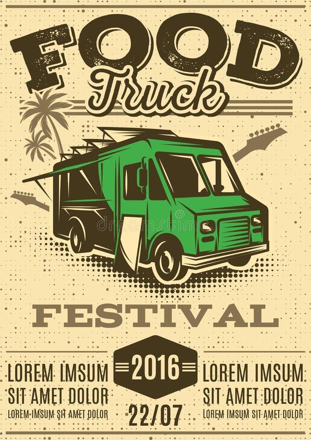 Retro plakat dla zaproszeń na ulicznym karmowym festiwalu z jedzenie ciężarówką royalty ilustracja