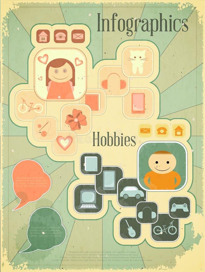 Retro plakat - hobbyer stock illustrationer