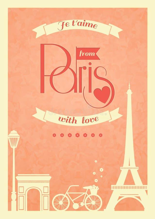 Retro- Plakat Liebes-Paris-Weinlese lizenzfreie abbildung