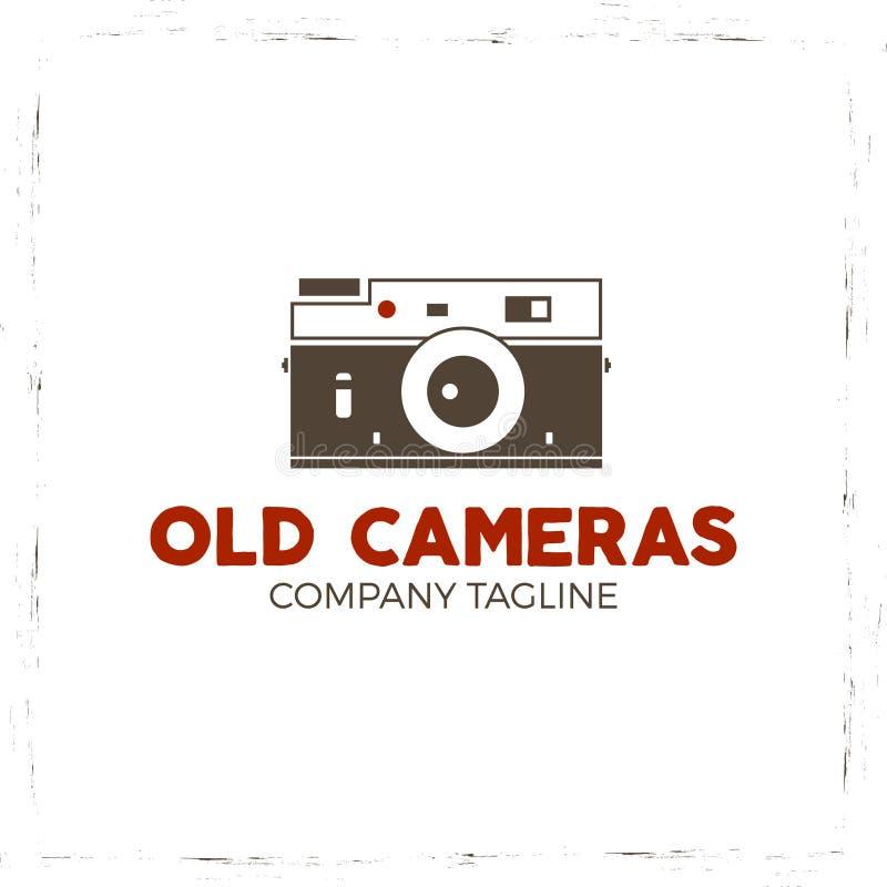 Retro plakat lub loga szablon z starą kamery ikoną Odizolowywający na grunge halftone tle Fotografia rocznika projekt ilustracja wektor
