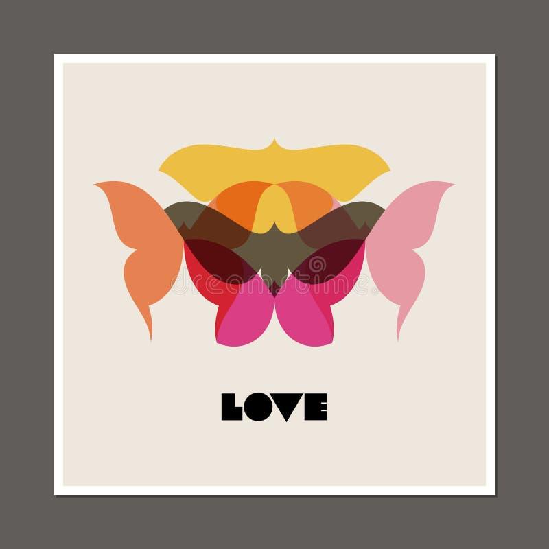 Retro- Plakat mit Schmetterlingen und Motten lizenzfreie abbildung
