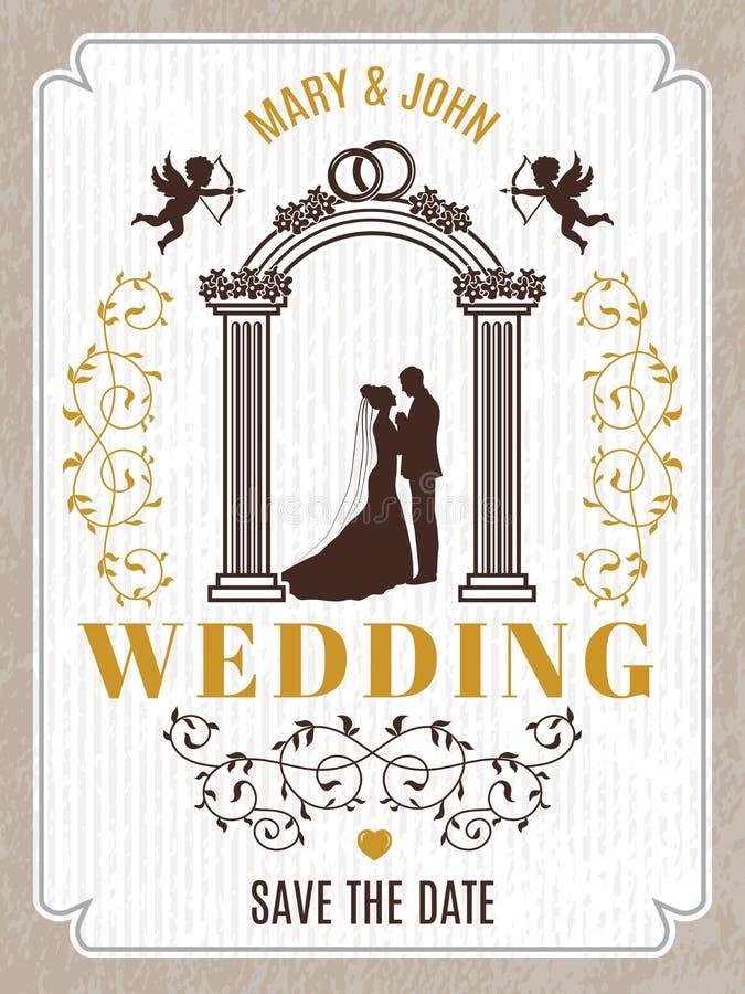 Retro- Plakat- oder Hochzeitskarteneinladung Vector Designschablone mit Platz für Ihren Text stock abbildung