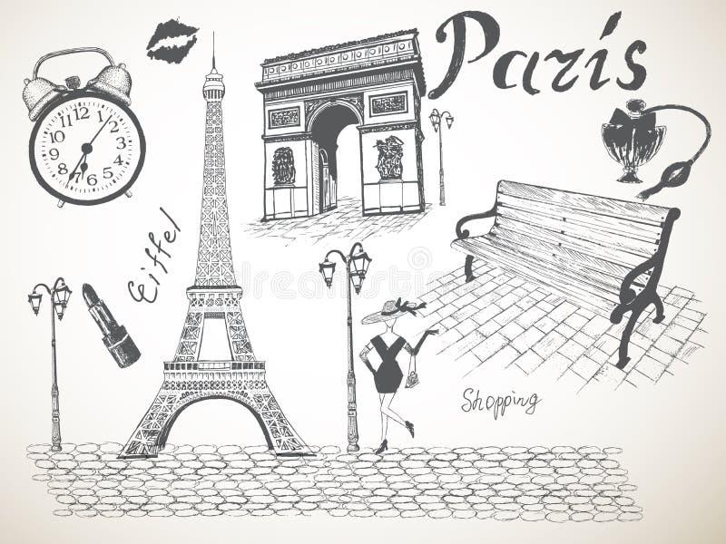 Retro plakat Paryż royalty ilustracja