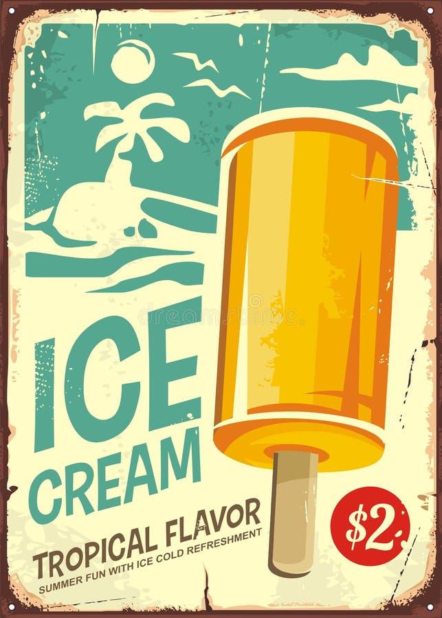 Retro- Plakatdesign der Eiscreme lizenzfreie abbildung