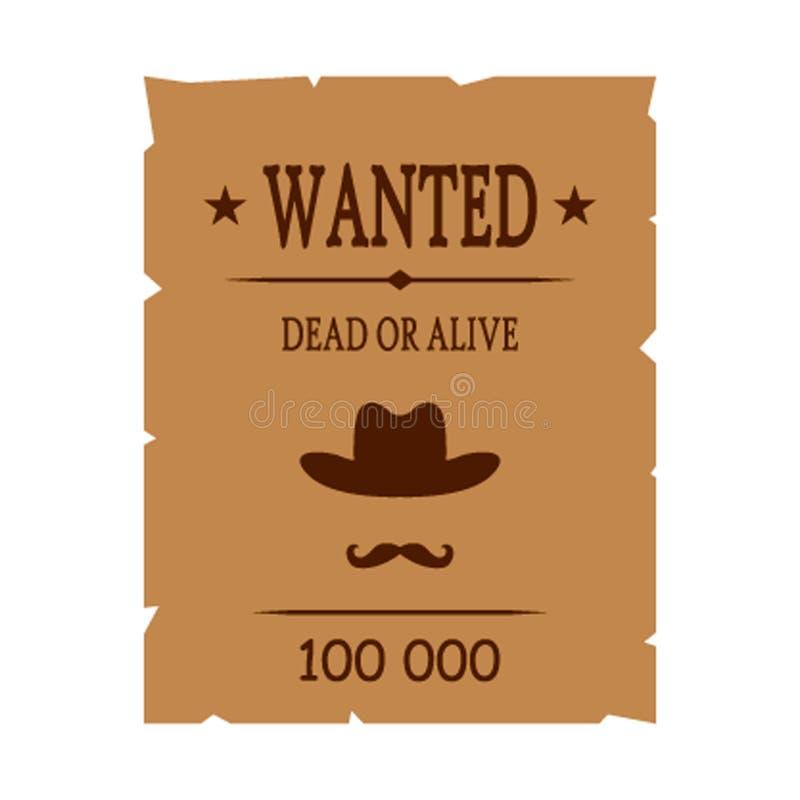Retro plakatowa Chcieć przestępca dla nagrody portret zabójca P?aska wektorowa ilustracja royalty ilustracja