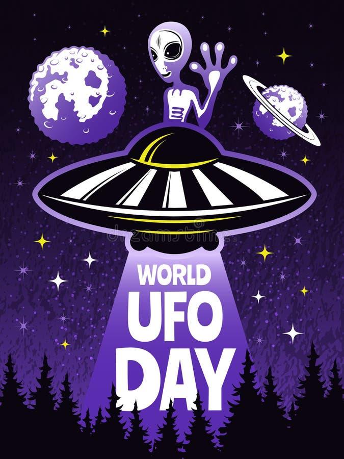 Retro plakatowy pojęcie dla światowego dnia ufo Obrazki śmieszny obcy ilustracja wektor