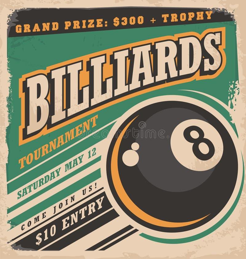 Retro plakatowy projekt dla billiards turnieju royalty ilustracja