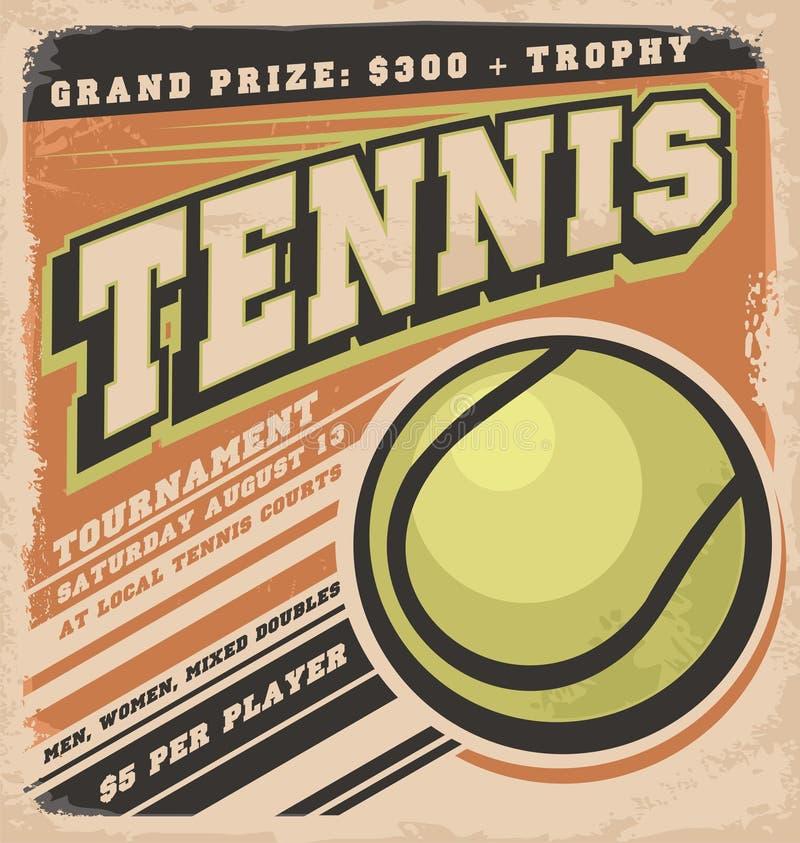 Retro plakatowy projekt dla tenisowego turnieju ilustracja wektor