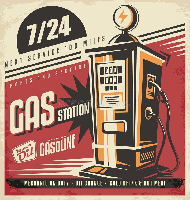 Retro plakatowy projekta szablon dla benzynowego stationj