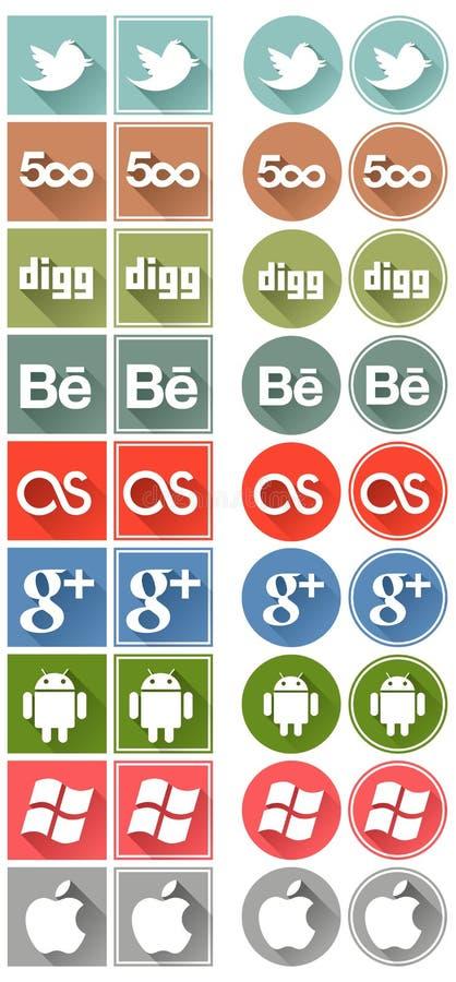 Retro plan social massmediasymbolsuppsättning 2 arkivbild