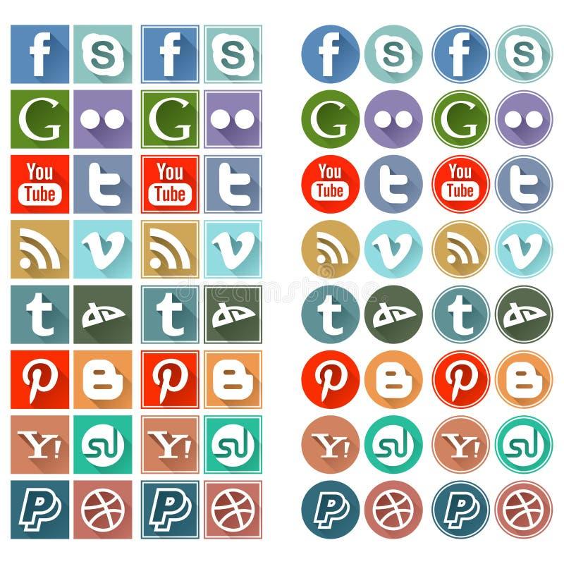 Retro plana sociala massmediasymboler royaltyfri illustrationer