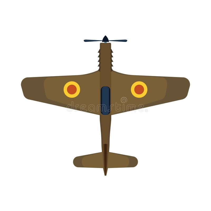 Retro plane top view vector icon aircraft aviation. Air travel biplane isolated transport above. Cartoon classic vehicle jet stock illustration