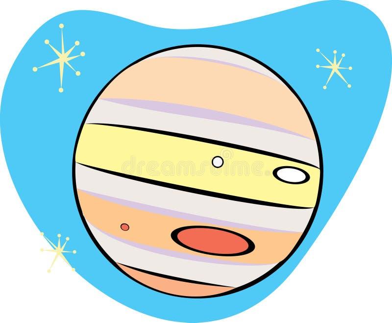Retro Planeet Jupiter stock illustratie