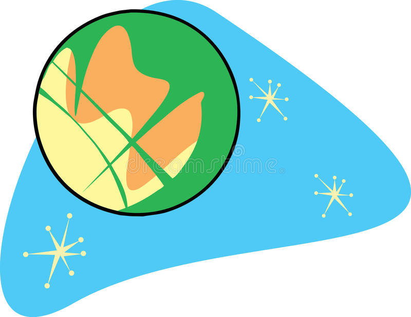 Retro Planeet Mars vector illustratie