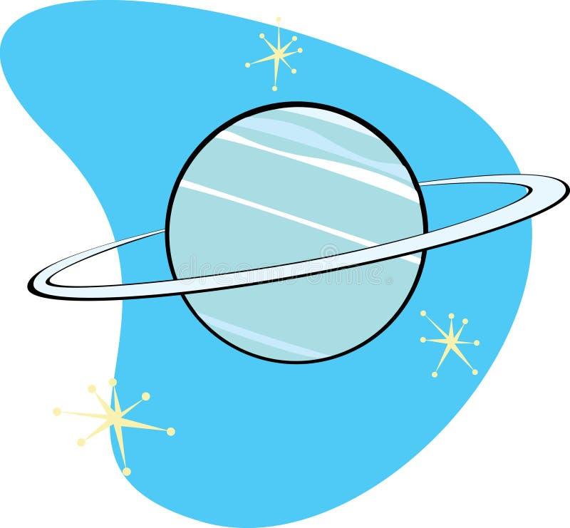 Retro Planeet Neptunus royalty-vrije illustratie