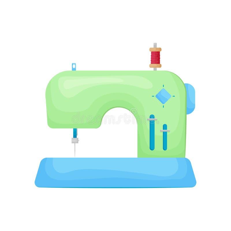 Retro planlagd modell av symaskinen i grön färg med rullen av tråden överst som isoleras på vit stock illustrationer