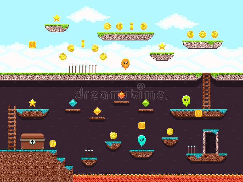 Retro platformer video game, vector gaming screen royalty free illustration