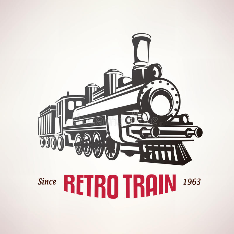 Retro pociąg, rocznika wektoru symbol ilustracji