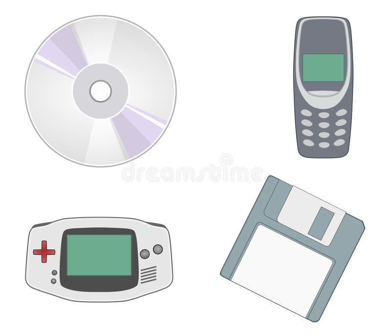 Retro Pocket Game, CD , Floppy Disk , Handy royalty free illustration
