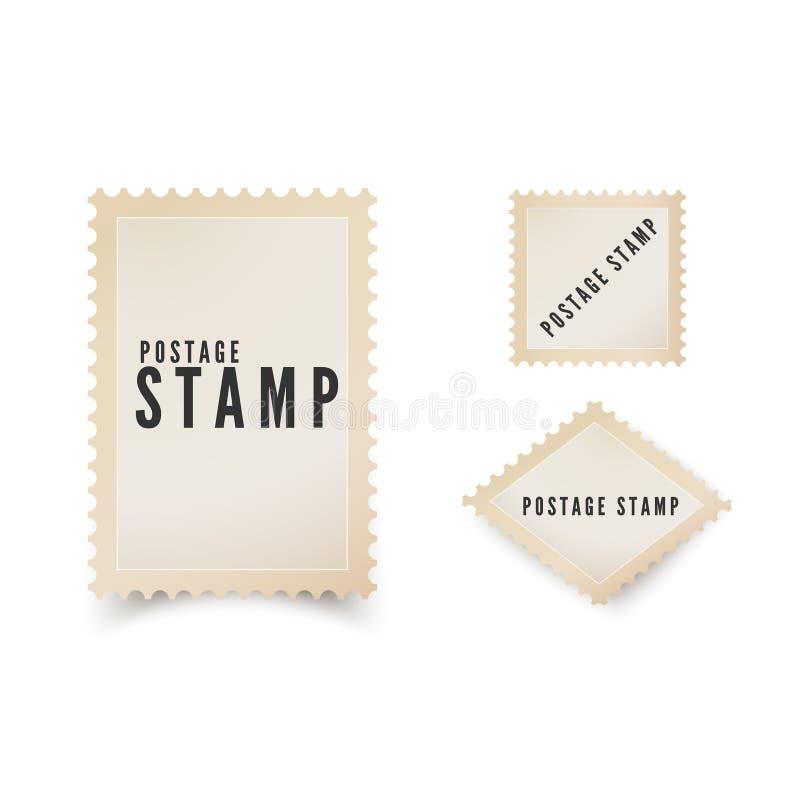 Retro pocztowy stemplowy szablon z cieniem Rocznika pusty znaczek pocztowy z dziurkowatą granicą Wektorowa ilustracja odizolowywa ilustracja wektor