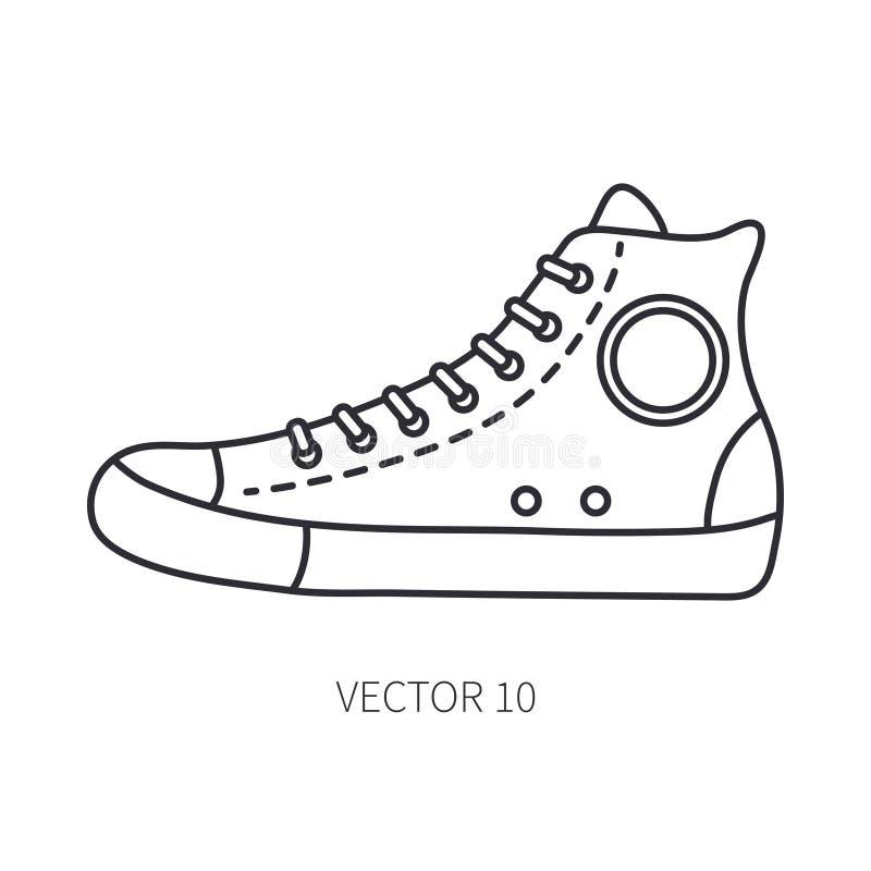 Retro podróż buta tenisówka wektoru linii ikona Lato podróży wakacje, turystyka, campingowy wyposażenie Nastoletni 1960s styl ilustracji