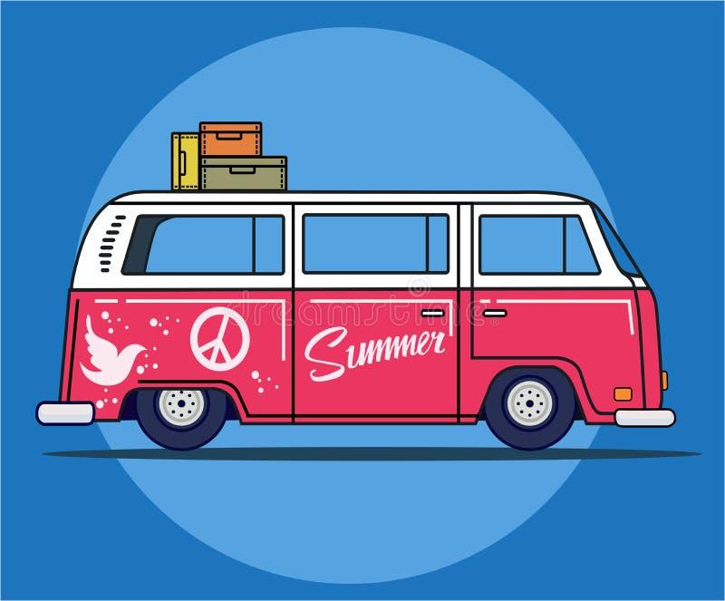 Retro podróż samochód dostawczy ilustracji