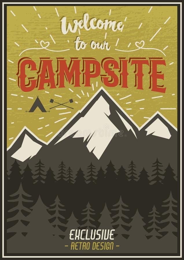 Retro podróży typografii plakat z campingowymi symbolami - namiot, góry, lasowy Wektorowy typografia projekt ręka patroszona ilustracja wektor