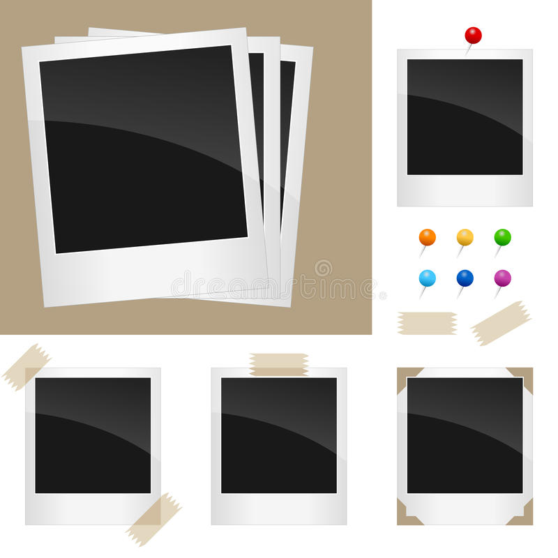 Retro Polaroid Frames Set. Retro polaroid frames, ready to be filled with your pictures, in different versions. Eps file available