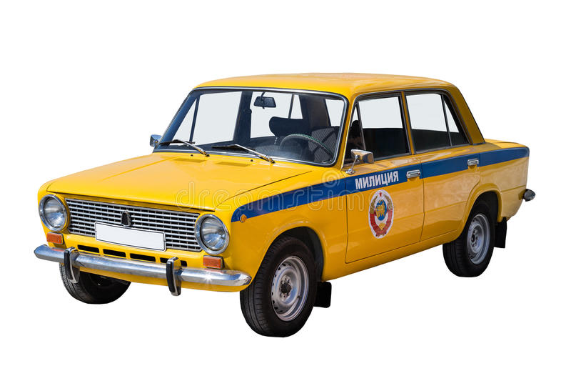 Retro police car stock image