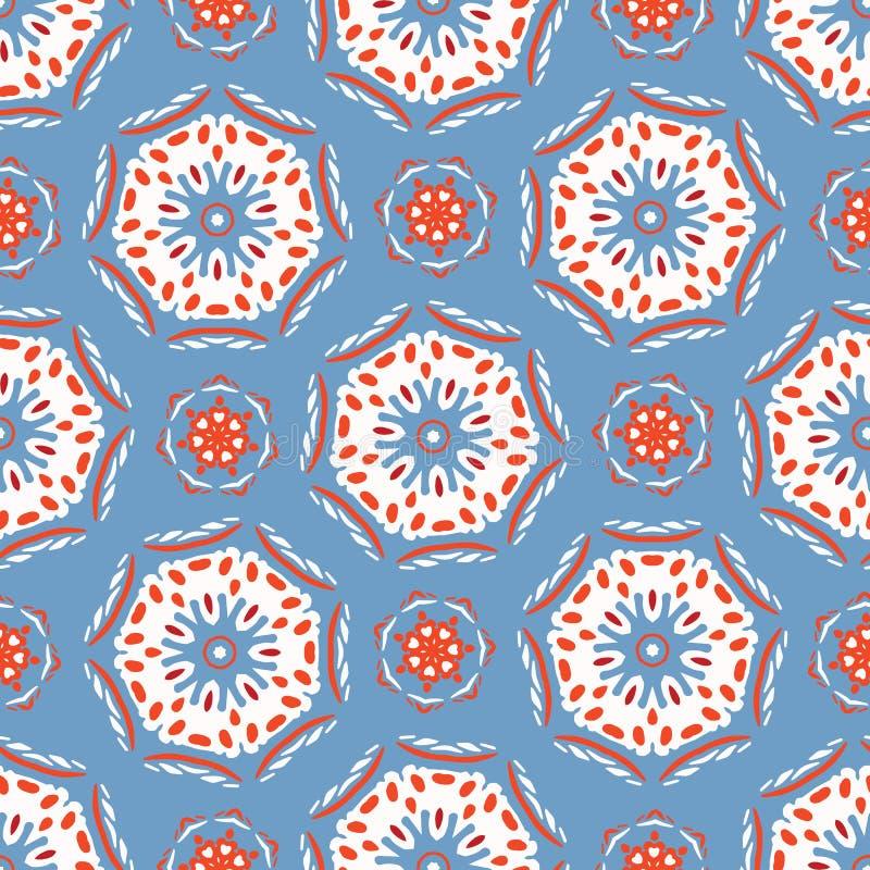 Retro Polka Dot Circles Seamless Pattern Da ogni parte di struttura astratta tocca per gli anni 50 royalty illustrazione gratis