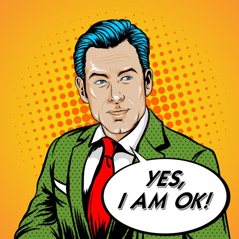 Retro Pop Art. A Man Calm and say OK with speech bubble stock illustration