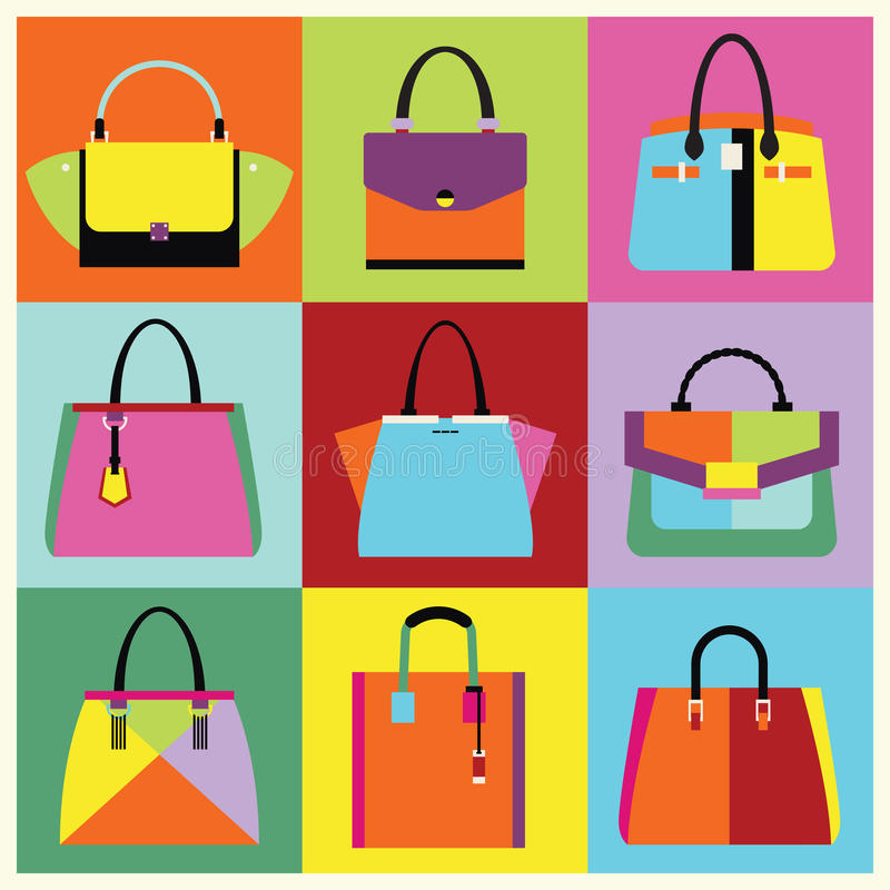Retro pop art women handbag and purse set vector illustration