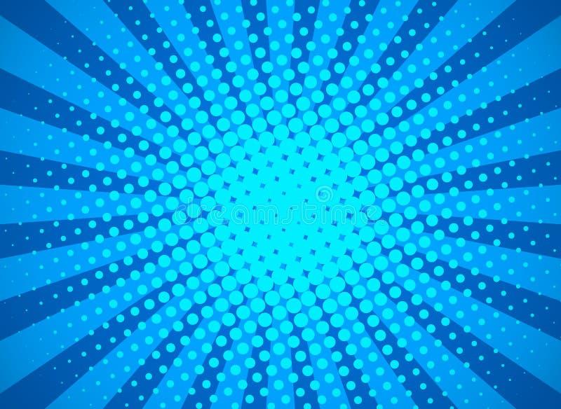 Retro- Pop-Arten-Hintergrund mit Halbtonpunkten und starburst Strahlen Fahne f?r Comic-Buch-Superhelden Flacher Vektor lizenzfreie abbildung